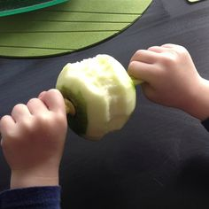 Easy way for toddlers to eat skinned apples. Also great for snack time on the go to keep the germs down.