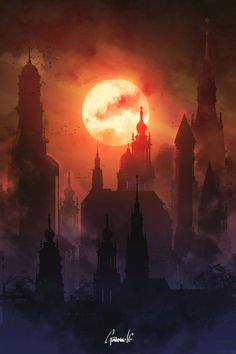 Yharnam by TheGuardinian   Sun rise, sunset, red moon   city   red and purple sky, art