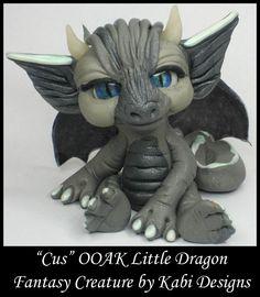 Handmade Fantasy Clay Dragon Sculpture DollHouse Polymer Clay Art OOAK Cus