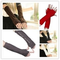Casual Women Winter Warm Long Twisted Arm Sleeve Wool Fingerless Knitted Gloves