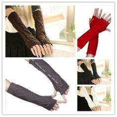 Casual Women Winter Warm Long Twisted Arm Sleeve Wool Fingerless Knitted Gloves