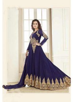 couleur bleue georgette Anarkali costume, - 161,00 € #Robepakistanaise #Tenuepakistanaise #Robepakistanaisepascher #Shopkund