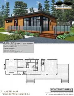 Zen ct 1 supreme homes Little House Plans, Small House Plans, House Floor Plans, Modern Zen House, Home Modern, Small House Design, Modern House Design, Model House Plan, Shed Homes