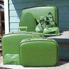 Vintage Avocado Green Luggage Set