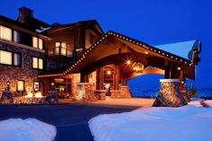 The mountain-inspired luxury, Waldorf Astoria Park City resort at the base of Canyons Resort, which is the largest ski and snowboard resort in Park City, Utah.