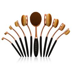Professional Oval Makeup Brush Set - 10 Brushes - Toothbrush Design Brushes * Read more  at the image link.