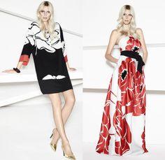 Escada 2014 Spring Womens Presentation - New York Fashion Week - Tropical Pineapple Flowers Zebra Print Motifs: Designer Denim Jeans Fashion: Season Collections, Runways, Lookbooks and Linesheets