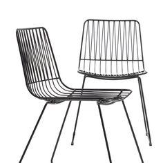 Lot de 2 chaises design en métal noir Made In Meubles   La Redoute Outdoor Chairs, Outdoor Furniture, Outdoor Decor, Table Haute, Chaise Vintage, Palette, Design, Home Decor, Products