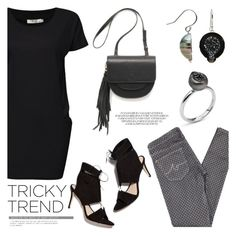 """""""Tricky Trend: Dress and Pants"""" by littlehjewelry ❤ liked on Polyvore featuring AG Adriano Goldschmied, Pearl & Black, TrickyTrend, contestentry, pearljewelry and littlehjewelry"""