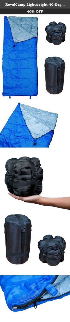 RevalCamp Lightweight 40-Degree Polyster Fiber Sleeping Bag, Blue, Large. Ultra Light Sleeping Bag by RevalCamp for indoor and outdoor use. Technical Data: Weight: 2 lbs / 0.8 kg Colors: blue, red Product size: 30x71'' / 75x180 cm Compact stuff sack: 7x7x15'' ; compressed: 7x7x7'' Shell & Lining: 170T polyester - Good UV radiation, color fadeless, weather resistant. Filling: 200g/m2 polyester fiber Temperature (degrees): above 40 Fahrenheit / 5 Celsius 365 Days Satisfaction Guarantee:...