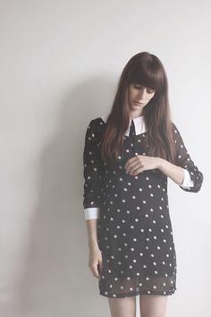 Polka dots and 3/4 sleeves.