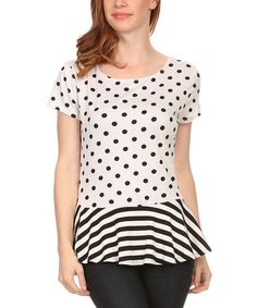 This White Polka Dot & Stripe Peplum Top - Plus by J-Mode USA Los Angeles is perfect! #zulilyfinds