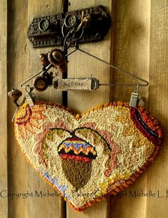 Painted Acorn Heart ~ copyright 2016 Michelle L. Palmer I couldn't get through the harvest season without a few punch needle hear...