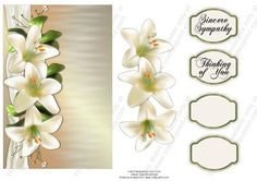 White Lillies Sympathy on Craftsuprint designed by Vicki Avcin - A very quick card to make up with 3 white lillies, could be used for other occassions but I have done as a sympathy card.  - Now available for download!