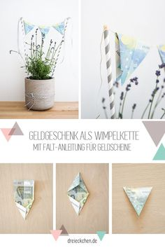 Money gifts for the wedding: 3 beautiful decoration ideas with flowers- Geldgeschenke zur Hochzeit: 3 schöne Deko-Ideen mit Blumen Money gifts as a pennant chain: With fast instructions for banknotes - Crafts For Teens, Diy And Crafts, Upcycled Crafts, Don D'argent, Diy Y Manualidades, Fleurs Diy, Ideias Diy, Wedding Beauty, Diy Gifts