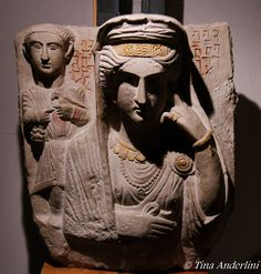 Funerary stela from Palmyra, gilded and painted limestone, 3d c. CE, Oriental Museum, Rome