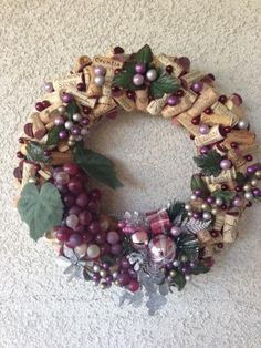 Upcycled California Wine Cork Christmas Wreath w/Faux Grapes, Wine Lovers Housewarming, Holiday Wreath, Hostess Christmas Gifts (704) by BellaVinos for $75.00