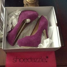 "REDUCEDPURPLE Suede Platform Pump Shoe dazzle sizzler! Purple suede 5"" platform pump with 1"" hidden platform.  Worn a couple of times, in Excellent condition!  Comes with original shoebox, dust shoe cover and rubber heel replacements. Shoe Dazzle Shoes Platforms"