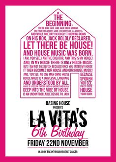 La Vita | Basing House | London | https://beatguide.me/london/event/basing-house-la-vita-s-ldn-6th-birthday-in-aid-of-breakthrough-breast-cancer-research-20131122