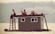 A Finnish floating sauna Malta, Finland Culture, Portable Steam Sauna, Finland Summer, Finnish Sauna, Life Aquatic, Arctic Circle, Midnight Sun, Boat Plans