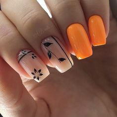 intricate short acrylic nails to express yourself 1 Manicure Nail Designs, Manicure E Pedicure, Nail Art Designs, Hot Nails, Hair And Nails, Nagellack Trends, Pretty Nail Art, Orange Nails, Nagel Gel