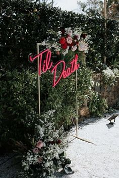 'Til Death Neon Signage. Florals by Wilderness Flowers. 'Til Death Neon Signage. Florals by Wilderness Flowers. We are want to say thanks if you like to share this post to anot. Wedding Goals, Wedding Tips, Wedding Planning, Dream Wedding, Wedding Day, Wedding Hacks, Punk Rock Wedding, Gypsy Wedding, Garden Wedding