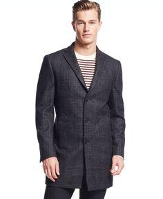 Dkny Denn Black Tonal Plaid Slim-Fit Overcoat