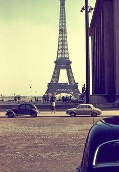 beautiful, cars, eiffel tower, paris