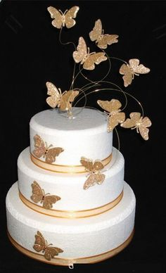Details about Superb Golden/Silver Butterfly Cake Toppers Wedding Birthday Anniversary - Anniversary Cake Designs, Golden Anniversary Cake, 50th Wedding Anniversary Cakes, Golden Birthday Cakes, 40th Birthday Cakes, Butterfly Wedding Cake, Butterfly Cakes, Bolo Floral, Quinceanera Cakes