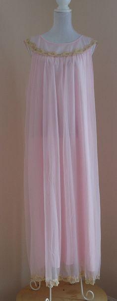 Vintage Edward Saykaly Pink Chiffon Nightgown on Etsy, $50.72 CAD