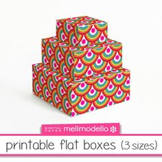 printable flat boxes Rainbow 3 sizes download by melimodello