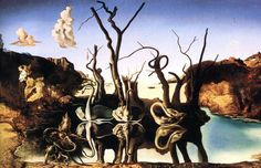 Framed Print - Salvador Dali Swans Reflecting Elephants (Replica Picture Poster)