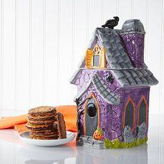 David's Cookies Halloween Birdhouse Jar w/Cookies