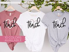 Excited to share this item from my #etsy shop: Teach Back to School T-Shirt | Back to School Shirts | School Staff Shirts | Teacher Shirt | I heart teaching shirt Back To School Party, School Parties, First Day Of School, Welcome Students, Teaching Shirts, School Staff, School Shirts, Graphic Sweatshirt, T Shirt
