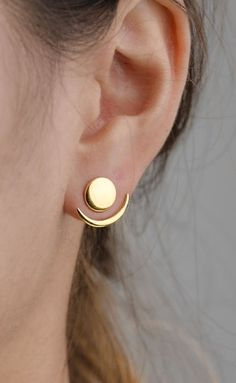 Moon Phase Earrings- Front Back Earrings- Ear Jacket- Floating Earrings- Geometric Jacket Earrings- Bridesmaid Gift- Stud Earrings- Goldohrringe Lunai Schmuck I Love Jewelry, Silver Jewelry, Women Jewelry, Fashion Jewelry, Cheap Jewelry, Silver Ring, Jewelry Ideas, Beaded Jewelry, Jewellery Supplies