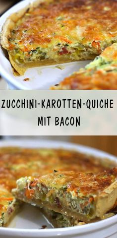 A rich and wonderful quiche with guaranteed success! Also perfect for guests. # food for guests Informations About Herzhafte Zucchini-Karotten-Quiche mit Bacon — … Healthy Eating Tips, Eating Habits, Healthy Snacks, Healthy Recipes, Meat Recipes, Snack Recipes, Bacon Quiche, Meat Appetizers, Simple Appetizers