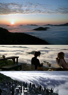 Have a cup of coffee in heaven - Unkai Terrace (雲海テラス), the unkai sea of clouds is an event of nature at Mount Tomamu located in the Hidaka Mountains, Hokkaidō, Japan.