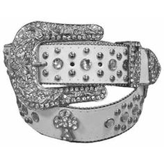 White Rhinestone Western Cowgirl Belt ($20) ❤ liked on Polyvore featuring accessories, belts, jeweled, white, rhinestone belt, white rhinestone belt, cowgirl belts, jewel belt and western belts