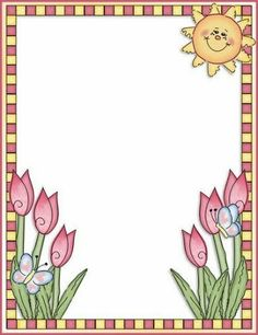 Sun and tulips frame Page Borders Design, Border Design, Borders For Paper, Borders And Frames, Blog Da Carol, Picture Borders, Stationary Printable, Clip Art, Frame Clipart
