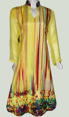 Buy Yellow Digital Printed Grip Silk Kurti by Needle & Ink Collection