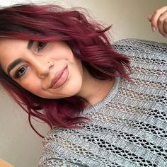 because its been awhile and I finally combed my hair. Deep Red Hair Color, Cherry Hair Colors, Dark Purple Hair, Hair Color Streaks, Brown Blonde Hair, Burgundy Hair, Hair Dye Colors, Brown Hair Colors, Magenta Hair Colors