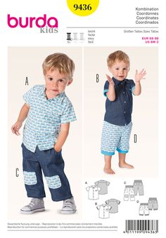 airy summer outfits for little boys. short-sleeved shirt with yoke, to be   adorned with ribbed bands, if you like. matching super comfortable pants with patch pockets and rib knit waistband.