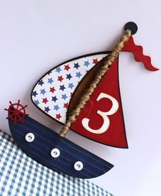 Handmade Nautical Invitation - SailBoat - Boat - Birthday, Wedding, Baby Shower,Anchors, Stars,