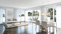 3D-Innenraumvisualisierung, Penthouse, Wohn-Essbereich, Dachterrasse