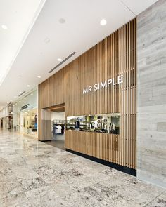 wood slat facade window entry mall wrap depth Mr Simple store by Prospace Design Studios, Brisbane Australia fashion Design Shop, Shop Front Design, Shop Interior Design, Showroom Design, Design Garage, Design Exterior, Facade Design, Retail Store Design, Retail Shop