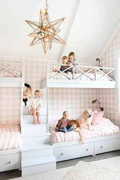 Pink gingham wallpaper in the girls' bunk room.