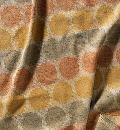 Gunta Stolzl - Bauhaus Master.  Curtain fabric 'Circles', 136cm x 65cm, doubleweave. warp; cotton, silk in stripes of red, yellow, blue and natural colour. warp: cotton red, silk white, bourette silk natural colour.