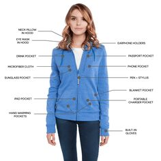 BauBax: The World's Best Travel Sweatshirt for Women (Blue), 15 Features Made This the Kickstarter Apparel Item EVER! Best Travel Jacket, Beach Vacation Packing List, Pants For Women, Clothes For Women, Street Chic, Street Style, Hoodie Jacket, Hoodies, Sweatshirts