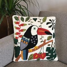 - Handmade - Toucan punch needle pillow by wefilgood Cross Stitch Embroidery, Hand Embroidery, Punch Needle Patterns, Latch Hook Rugs, Craft Punches, Handmade Pillows, Handmade Rugs, Handmade Crafts, Handmade Headbands