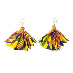 Buy Cat's eye and cotton fabric dangle earrings, 'Ohemaa Elegance' today. Shop unique, award-winning Artisan treasures by NOVICA, the Impact Marketplace. Denim Earrings, Fabric Earrings, Fabric Beads, Dangle Earrings, Diy Fabric Jewellery, Textile Jewelry, Bead Jewellery, Fabric Ribbon, Felt Fabric